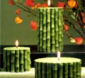 Green Bamboo Pillar Candles