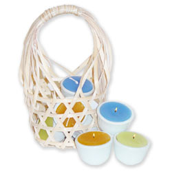 Bamboo Basket Candle Set - 8 Assorted Scents