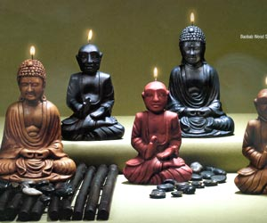 Sitting Buddha Candles - Brown