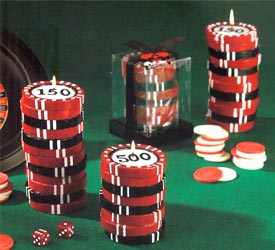 Stacked Poker Chip Candles - Medium Stack