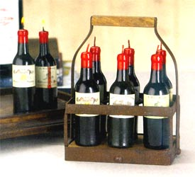 Six Wine Bottle Candles w/ Basket - 6-Pc Set
