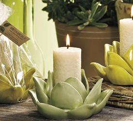 Agave Ceramic Candle Set - Yellow